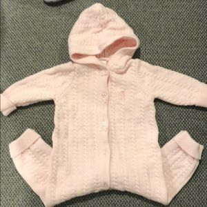 Little Me Hooded Sweater Button Onesie